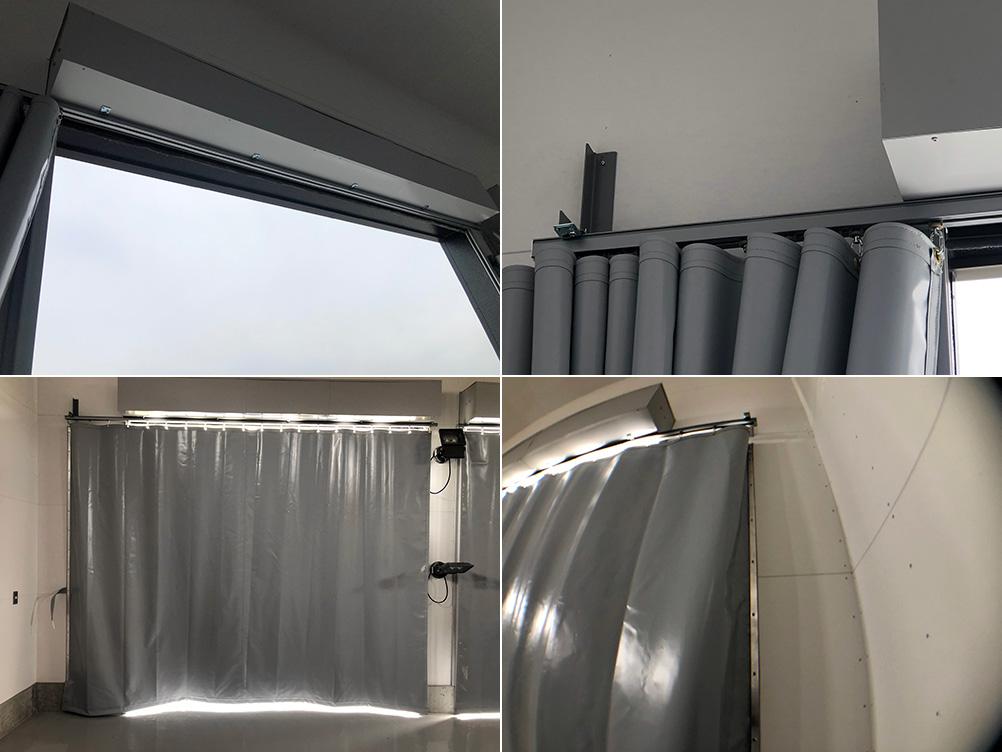 画像:自動車整備場入口の間仕切りカーテン新設工事(防音)